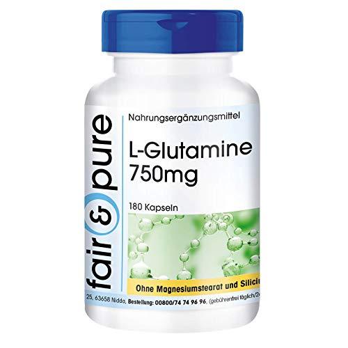 L Glutamina en Cápsulas - Vegana - Aminoácido Glutamina 750mg - Polvo encapsulado - Neutra - Alta pureza - 180 Cápsulas