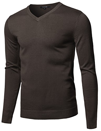 Youstar Casual Solid Soft Knitted Long Sleeve V-Neck Sweater Brown Size S