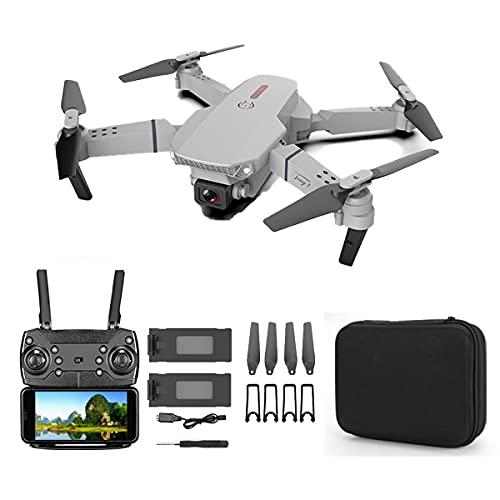 SWETIY Drone E88, Modalit¨¤ Senza Testa, Capovolgimento 3D, RC Droni Quadricottero Con 20 Minuti Di Volo, Controllo Da Gesti, Funzione Di Hovering, Un Pulsante Decollo E Atterraggio, Grigio 2 Batterie