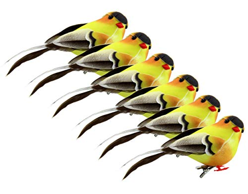 Cornucopia Yellow Goldfinches (6-Pack); Artificial Bird Ornaments for Crafts, Christmas Tree and Seasonal Displays and Wreaths, 2.5 x 4 Inches
