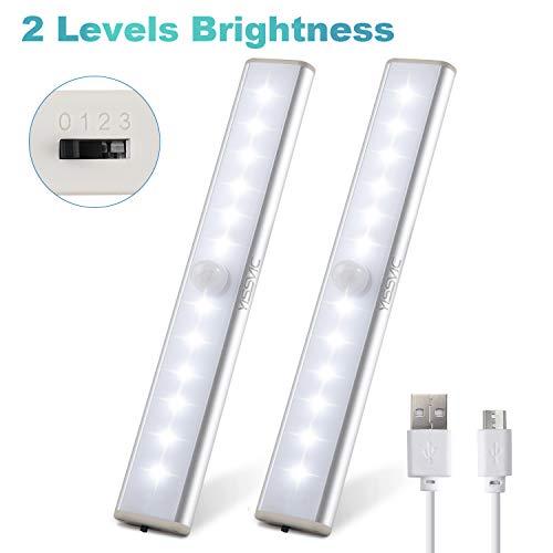 YISSVIC Schrankleuchten Bewegungsmelder Schrankbeleuchtungen LED Kabellos Kleiderschrank Lampen USB Wiederaufladbar