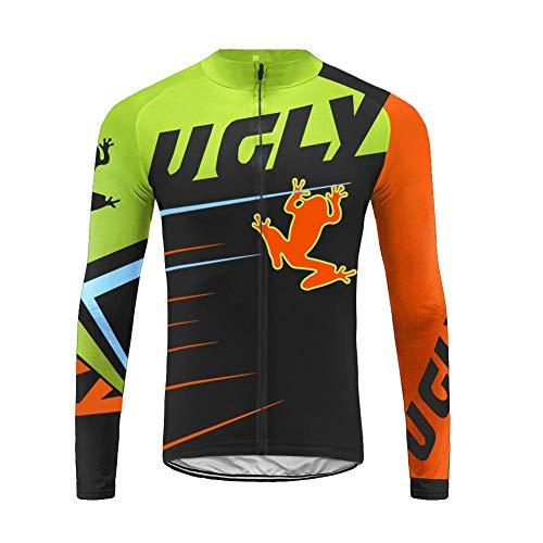 Uglyfrog Maillot Ciclismo Manga Larga Hombre Invierno Térmico Camiseta Bicicleta Ropa MTB Lana Secado Rápido ZRML01
