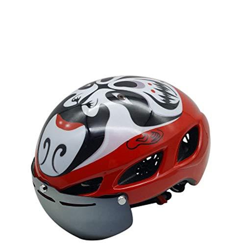 Kinderfiets helm, Fietsen rijhelm een stuk gezichtsmasker mannen en vrouwen veiligheid helm berg weg magnetische bril helm