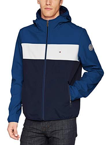 Tommy Hilfiger Men's Hooded Performance Soft Shell Jacket, Blue, Large