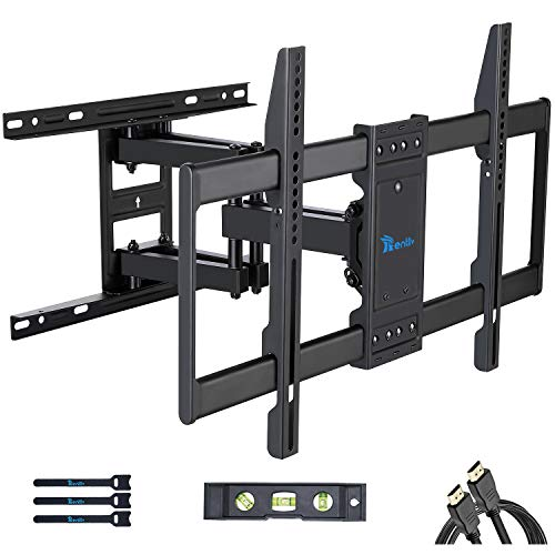 "RENTLIV TV Mount Full Motion with Articulating Arms for 37-70 inch Flat Curved Screen LED 4K TVs, Tilt Swivel Rotation TV Wall Mounts TV Bracket with Max VESA 600x400mm,Fits 8"" 16"" Wood Studs"