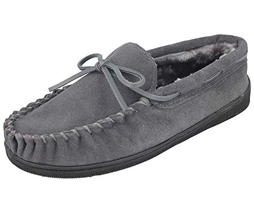 Cushion Walk Mens Real Suede Leather Moccasin Slippers Size 7-12 (12 UK, Grey/Grey)