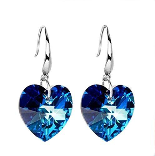 Ruikey Pendientes elegantes de cristal, diseño de corazón, ideal como regalo para mujeres y niñas, color azul