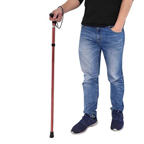 SALUTUYA Bastón para Caminar Antideslizante, Ligero, Ligero, Ajustable, Plegable, Ajustable, Duradero para Hombres y Mujeres, para Acampar, Senderismo(Brown)