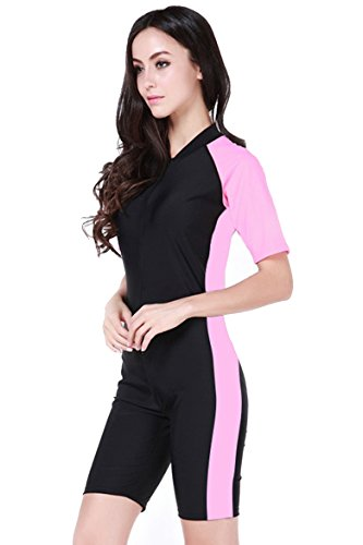 Damen Schwimmanzug Lang UV-Anzug UPF>50 Schutzkleidung Sunsuit Ganzk?rperansicht Badeanzug, - Rosa-2 - XL