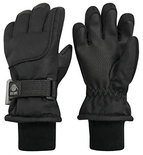 N'Ice Caps Unisex Adult 100 Gram Thinsulate Waterproof Winter Ski Mitten or Glove (Black Gloves, Men's Large/X-Large)