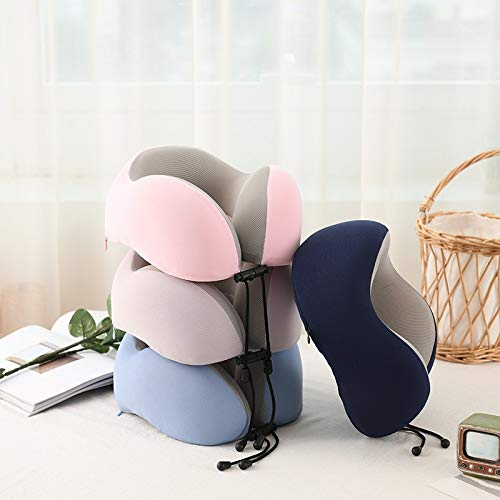 N/H Polyphenol Portable travel pillow, memory foam neck pillow support cushion (travel, travel, aircraft, automobiles) (Color : Navy Blue)