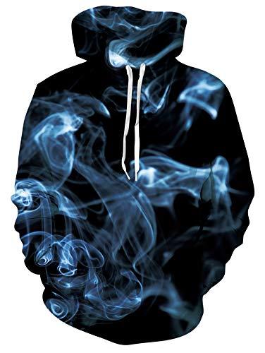 RAISEVERN Herren Navy Smog Hoodiess Dickes 3D-gedrucktes Sweatshirt mit Taschen Tunnelzug Lässiger Pullover mit Langen Ärmeln für Sportbekleidung