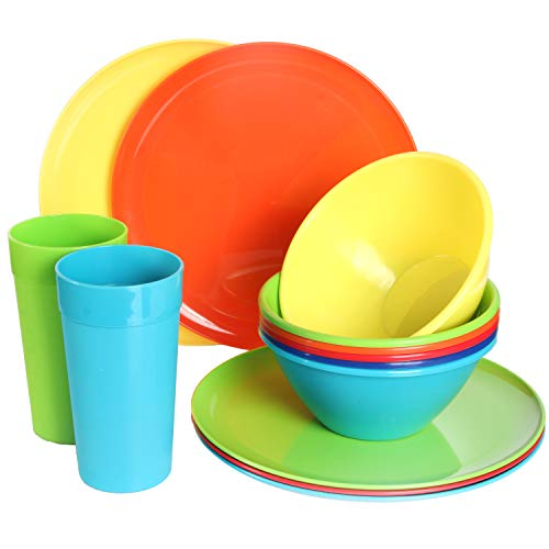 Youngever 18-Piece Plastic Kitchen Dinnerware Set, Plates, Dishes, Bowls, Cups, Service for 6 in 6 Assorted Colors
