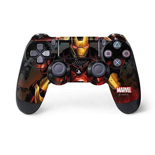 Skinit Decal Gaming Skin for PS4 Controller - Officially Licensed Marvel/Disney Ironman in Battle Design