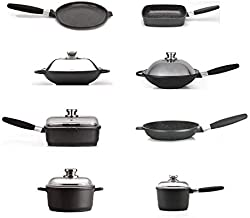EuroCAST by BergHOFF Specialty Set | Ceramic and Titanium Cooking Surface | Durable, Lightweight Cast Construction | Detachable Handle for Oven Use | Designed in Europe. Made for America