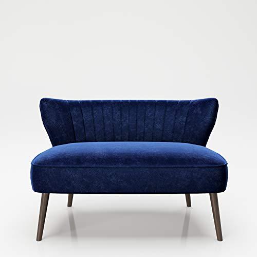 PLAYBOY Sitzbank / Lounge Loveseat mit bequemer Rückenlehne, Samtstoff in Light Blue, Sofa, Zweisitzer, 2er Sofa, Couch, Loungesessel, Retro-Design für Wohnzimmer & Lounge, Eingangsbereich, Blau