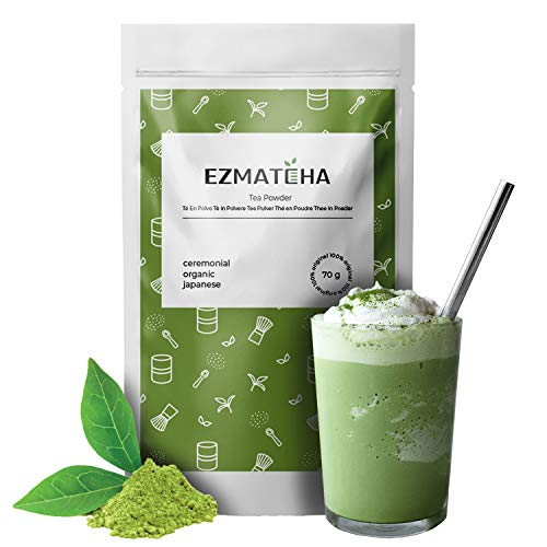 EZMATCHA 70 g Japanese [ Ceremonial Grade ] Matcha - Green Tea Powder - Authentic Japanese Antioxidant for Energy Boost, Detox, Weight Loss