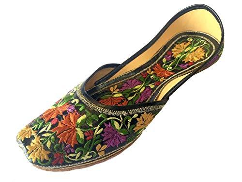 Step n Style Traditionelle indische Khussa-Schuhe für Damen von Phulkari Jutti Mojari, (mehrfarbig), 41 EU