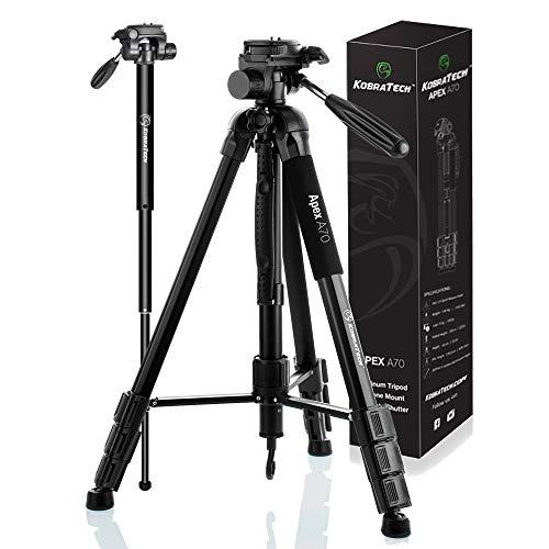 KobraTech 70' Trípode para teléfono y cámara - Apex A70 - Trípode de de cámara con disparador remoto Bluetooth, soporte de trípode para teléfono y monopié