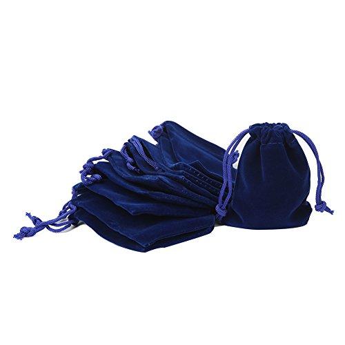 Shintop 10 Stück Schmuckbeutel Samt, Samtsäckchen Samtbeutel Geschenksäckchen für Schmuck und Geschenk-Verpackung (Blau)
