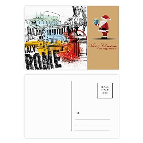 Postkarten-Set mit italienischem Rom, Landschaft, römisches Theater, Weihnachtsmann, 20 Stück