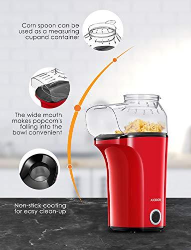 Macchina Popcorn, AICOOK 1400W Macchina per Popcorn Compatta ad Aria Calda senza Olio Grasso, Grande Capacità di 16 tazze, Coperchio Rimovibile, Senza BPA
