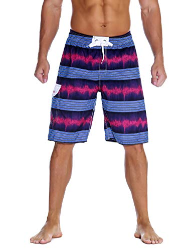 Unitop Men's Beach Board Shorts Striped Lightweight Surfing Trunks with Lining Purple-79 36