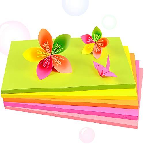 Origami-Papier Fluoreszierender Origami Papier 100 Blatt 5 farben