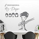Wall Stickers Mural Coiffeur Professionnel Sex Girls Lady Hair Salon Nom Découpe De Cheveux Décalque Coiffure Boutique Vitrine E Taille Finie 17X23In (45X60Cm)