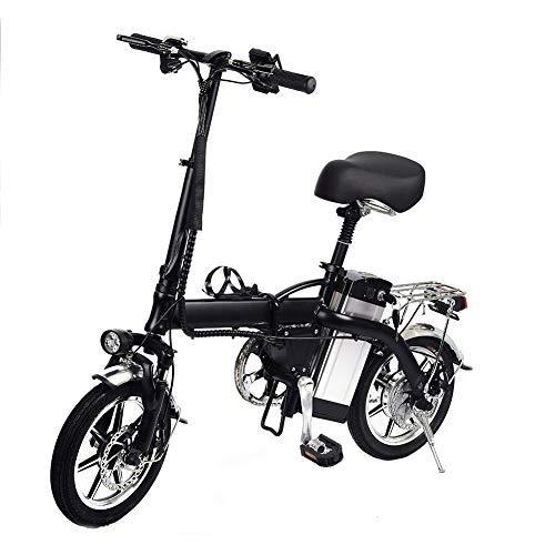 Rcraftn Bici Elettriche Pieghevole da 14' - Bicicletta Elettrica Portatile in Lega di Alluminio EBike con Batteria al Litio 48V/10AH, Motore ad Alta velocità 350w, velocità Massima50-60KM/H - Nero