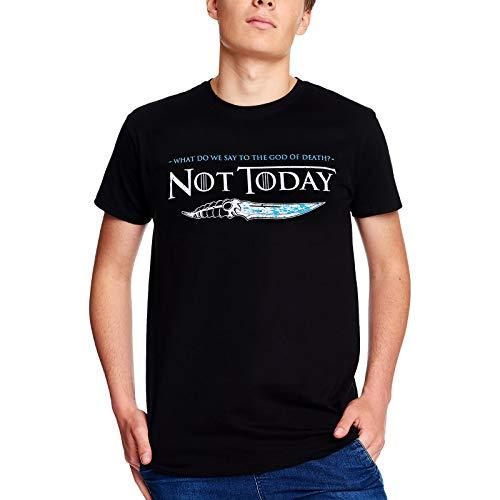 Elbenwald Not Today T-Shirt pour Fans de Game of Thrones Cotton Noir - L