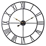 Large Metal Wall Clock, 24 Inch Vintage Distressed Black Industrial Roman Analog Wall Clock, Silent Battery Operated Indoor/Outdoor Clock for Living Room, Patio