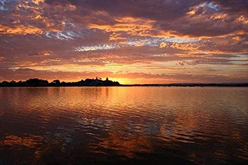 MX-XXUOUO Rompecabezas Lago Puesta de Sol Silueta Paisaje Naturaleza Agua Rompecabezas clásico para Adultos de Madera grande-1000 Piezas