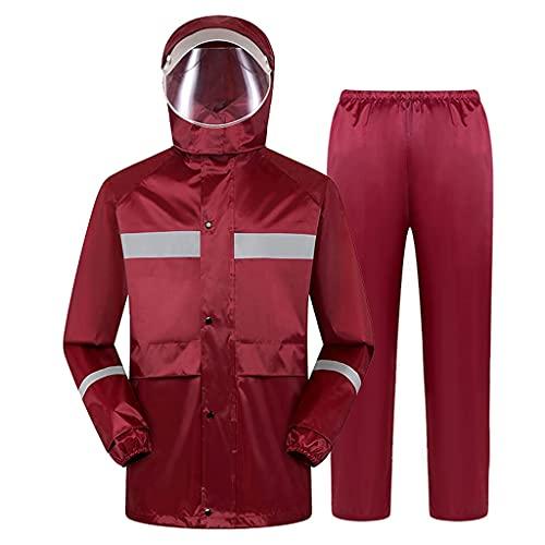 BHBXZZDB Men's Lightweight Rain Suit Waterproof Breathable Protective Rainwear Rain Jacket and Rain Pants for Fishing Motorcycle Cycling Work, Red(Size:XLarge)