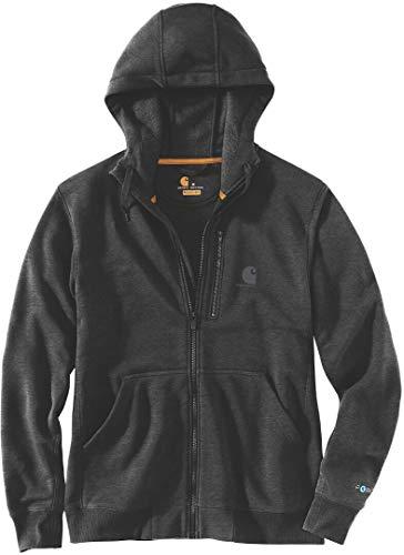 Carhartt . Force Delmont Herren-Sweatshirt mit durchgehendem Reißverschluss, Schwarz, Größe L, 103851.013.S006