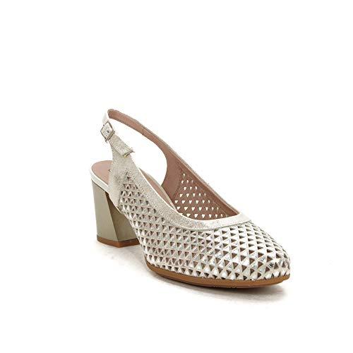 PITILLOS 5557 Zapato Talon Abierto Alto Mujer Oro 37