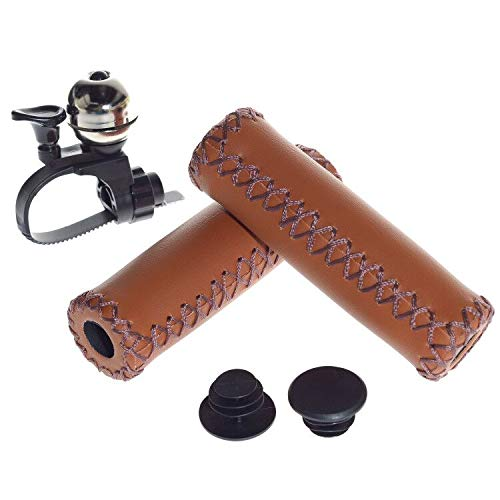 YHMY 1 Pair Bike Handlebar Grips Brown Retro Artificial Leather Handle Grips Cover with Loud Bell for Cycling MTB BMX Road Mountain Bike (Light Brown)