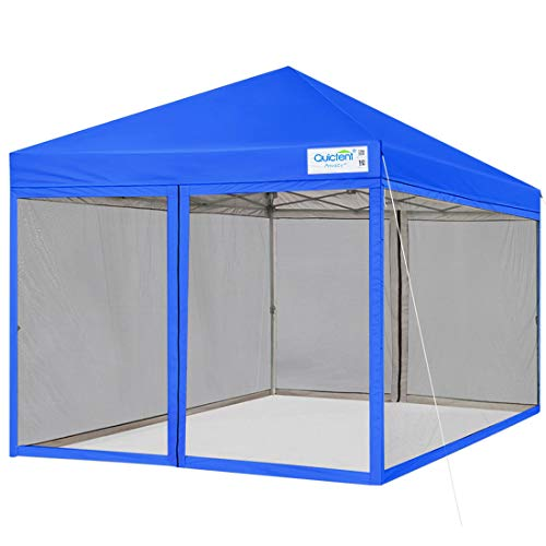 Quictent 10x10 Ez pop up Canopy Tent with Netting Screen House Room Tent Mesh Screen Walls Waterproof Wheeled Bag Included (Royal Blue)