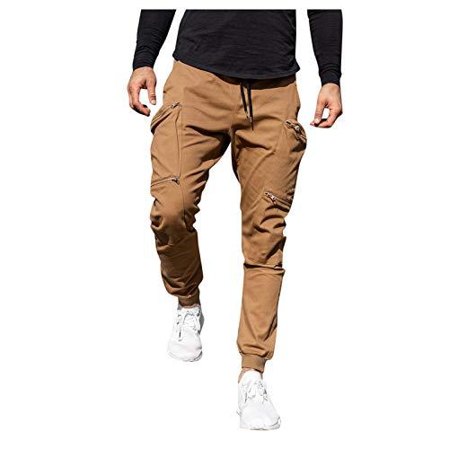 leigedzi Pantalones de costura de los hombres Multi-bolsillo Color sólido cordón deportes pantalones casuales