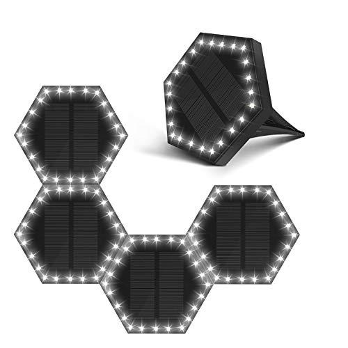 ソーラーライト 埋め込みライト 六角型ライト ガーデンライト 太陽光発電 昼白色 自動点灯消灯 IP68防水防塵 高輝度 24LEDピーズ LEDセンサーライト スポットライト 屋外 玄関先 庭 芝生 車道 歩道 駐車場 車庫 公園 防犯対策 (5個セット