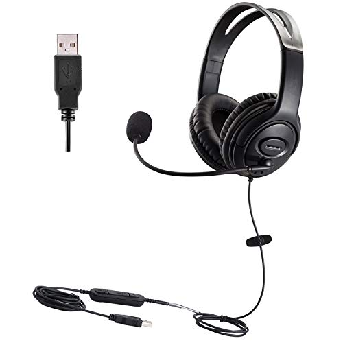 USB Headset with Microphone PC Computer Headphone with Voice Recognition...