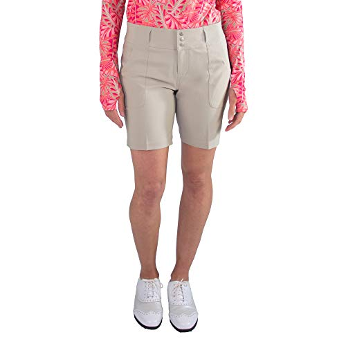 Jofit Apparel Women's Athletic Clothing Belted Shorts for Golf & Tennis, Size 16, Sand