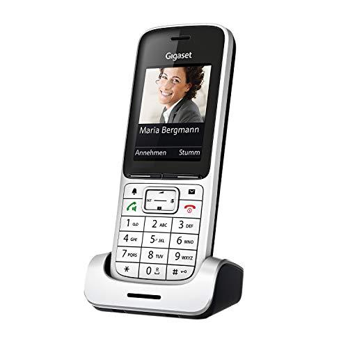 Gigaset SL450HX - Schnurloses DECT-Telefon zum Anschluss an vorhandene DECT-Basis - Mobilteil mit Ladeschale - brillantes Farbdisplay - großes Adressbucht, Silber