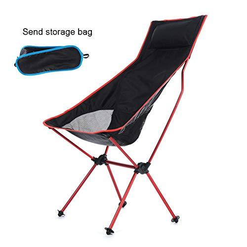 ZYFWBDZ Silla de Camping Plegable Ultraligera, Silla de Mochila portátil con reposacabezas Transpirable Adecuado para Acampar al Aire Libre en el Patio,Rojo