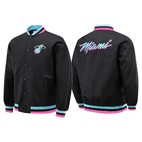 Miami Heat Herren Jacke Langarm Basketball Trikots Baseball Uniform Jacke Neutral Klassisch Retro Hemd Stil Outdoor Halten Warm (S-XXL) Gr. M, blau
