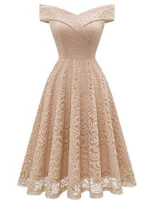 Bridesmaid Dresses Short Wedding Dress Vintage Floral Lace Dress Off Shoulder Keen Length Cocktail Formal Swing Dress Champagne-1 XL