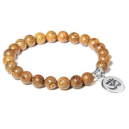 wangk Handmade Natural Stone Lotus Ohm Buddha Beads Bracelet Pink Zebra Stone Lotus Charm Bracelet for Women Men Yoga Jewelry Gifts WoodBeads