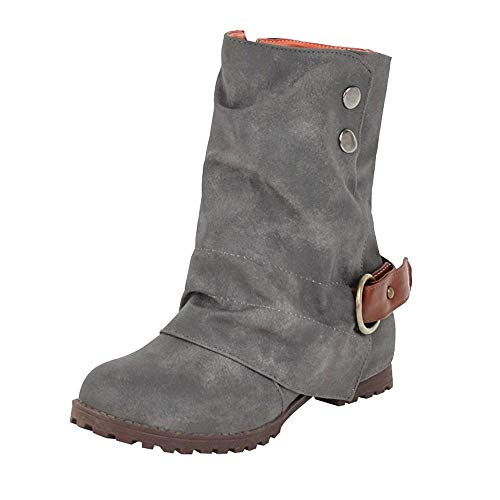 vermers Fashion Warm Short Leather Boots - Women Casual Buckle Artificial Leather Patchwork Shoes(US:7.5, Gray)