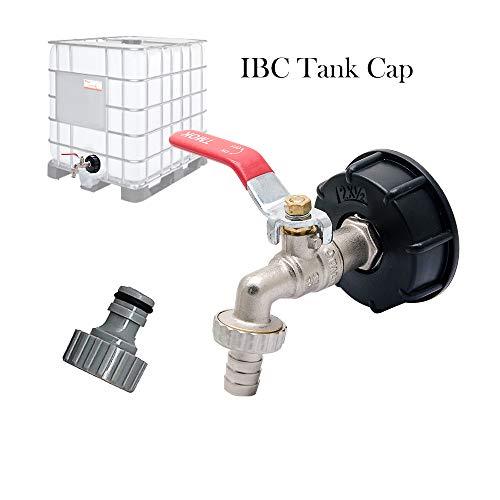 T&F IBC - Adattatore per serbatoio IBC per serbatoio dell'acqua, connettore S60X6 a rubinetto da giardino in ottone con tubo da 1/2' per olio, carburante, acqua