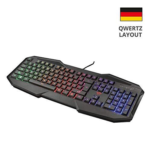 Trust GXT 830 Avonn Gaming Tastatur (Regenbogenwellen-Beleuchtung, 12 Media-Tasten, QWERTZ Deutsches Tastaturlayout)